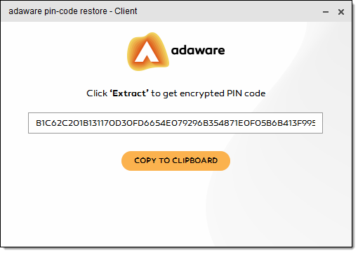 Encrypted PIN Code window