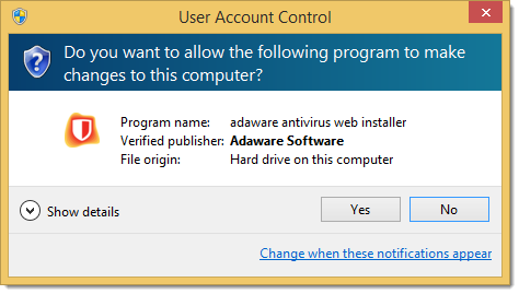 User Account Control window