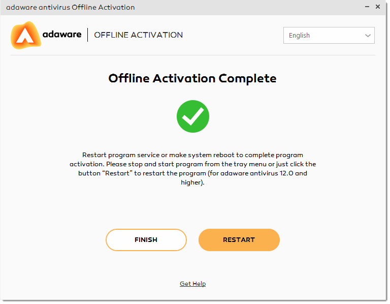 Activation Complete window