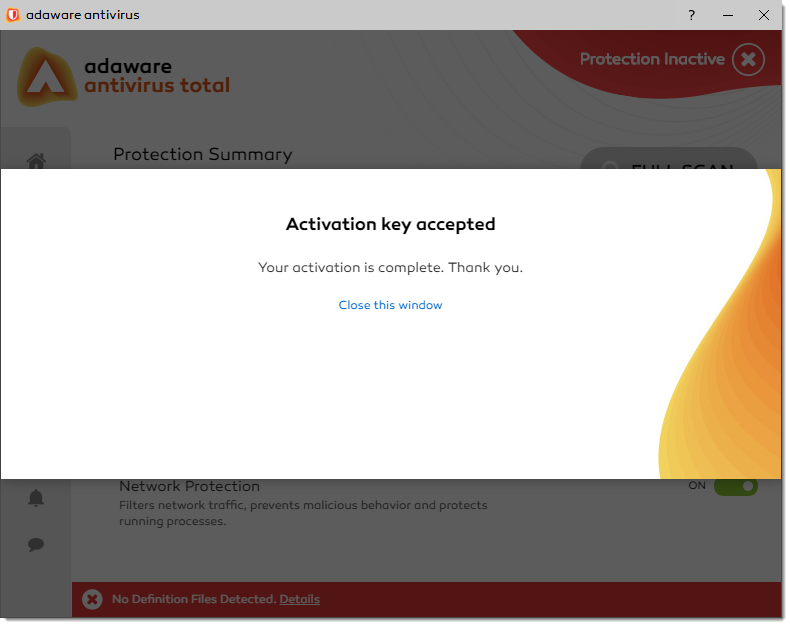 Activation Key Accepted window