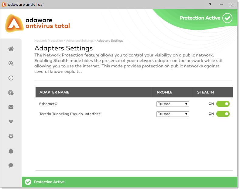 Adapters Settings window