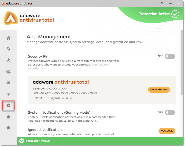 App Management window