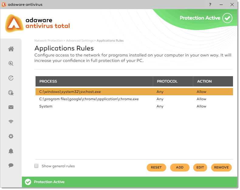 Application Rules window