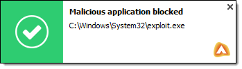 Malicious Application Blocked notification