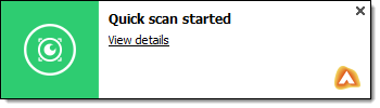 Quick Scan Started notification