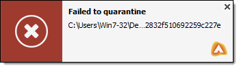 Failed to Quarantine notification