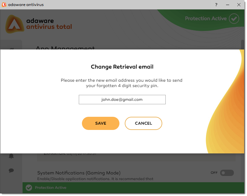 Change Retrieval Email window