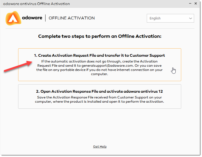 Create Activation Request option