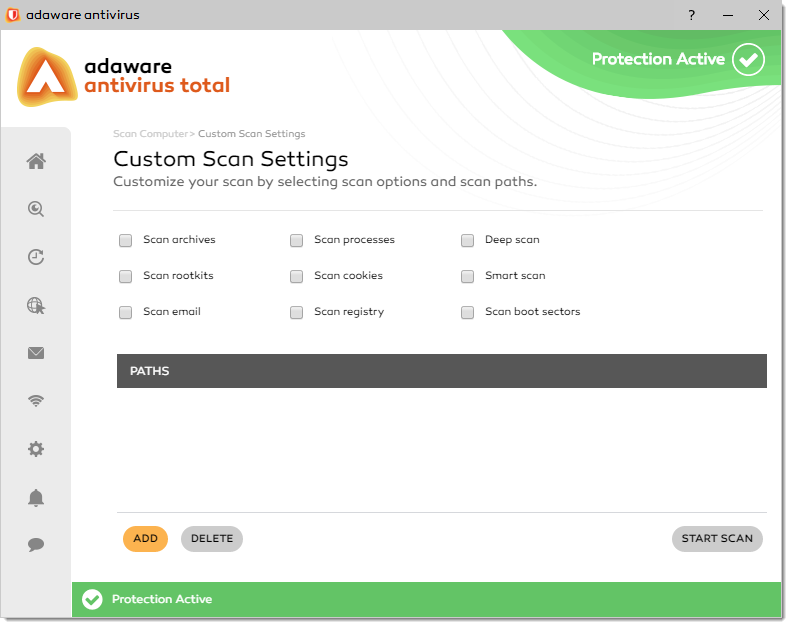 Custom Scan Settings window