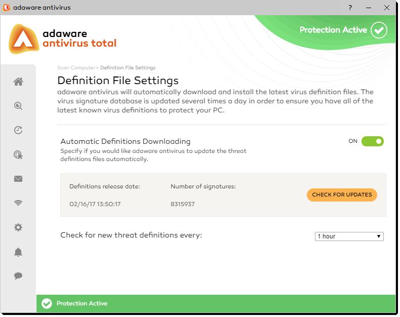 Definition File Settings window