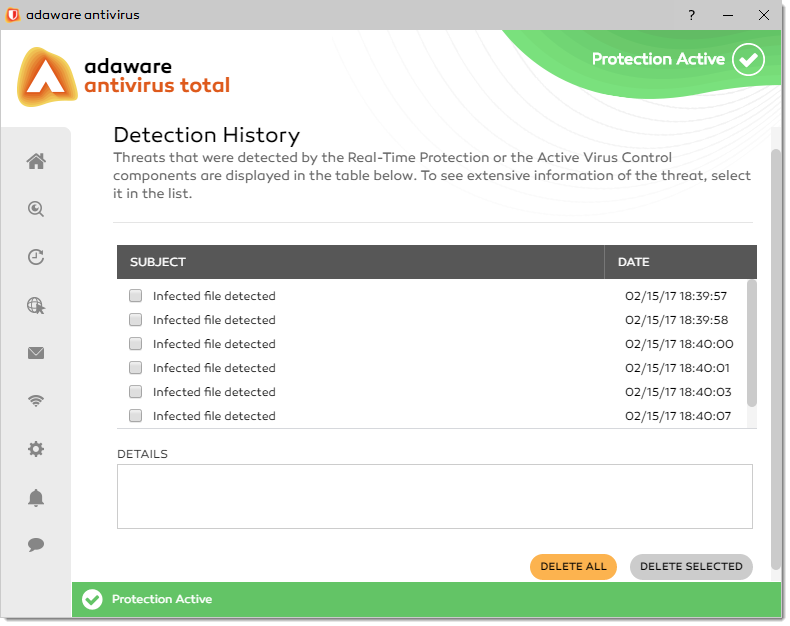 Detection History window