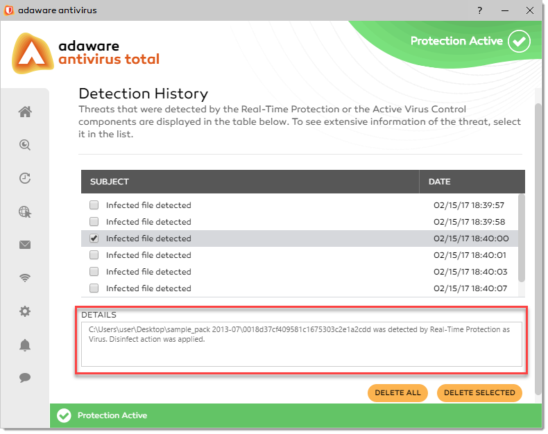 Detection History window - Details block
