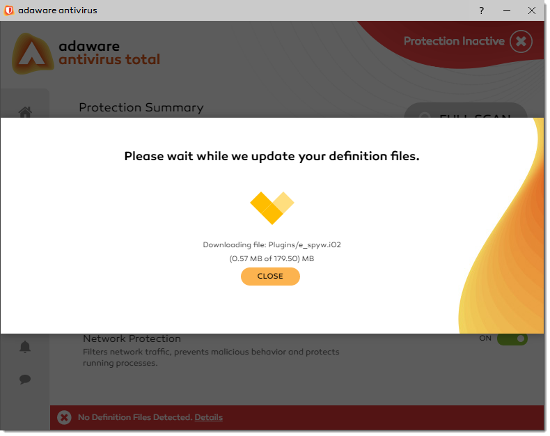 Downloading Definitions window