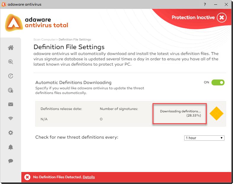 Downloading Definitions Progress