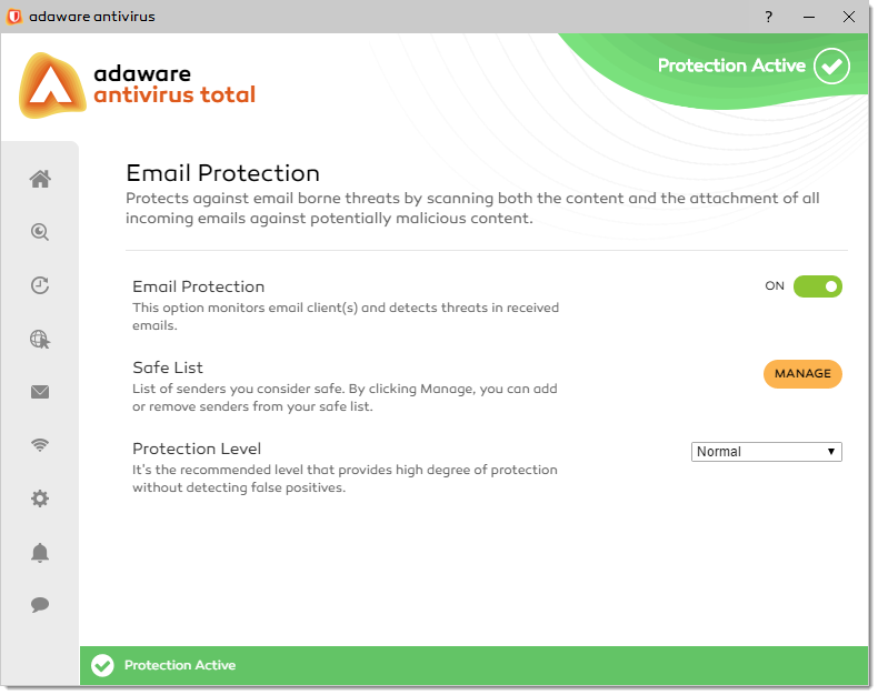 Email Protection window