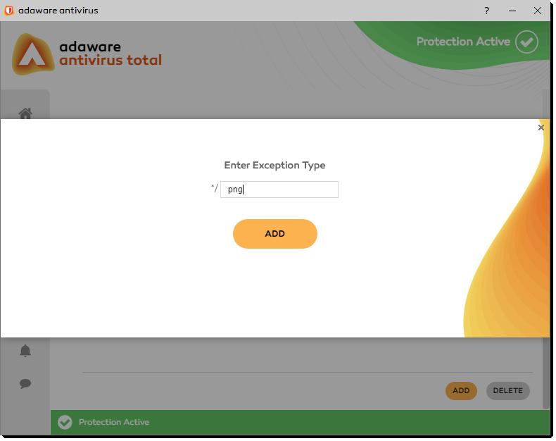Enter Exception Type window