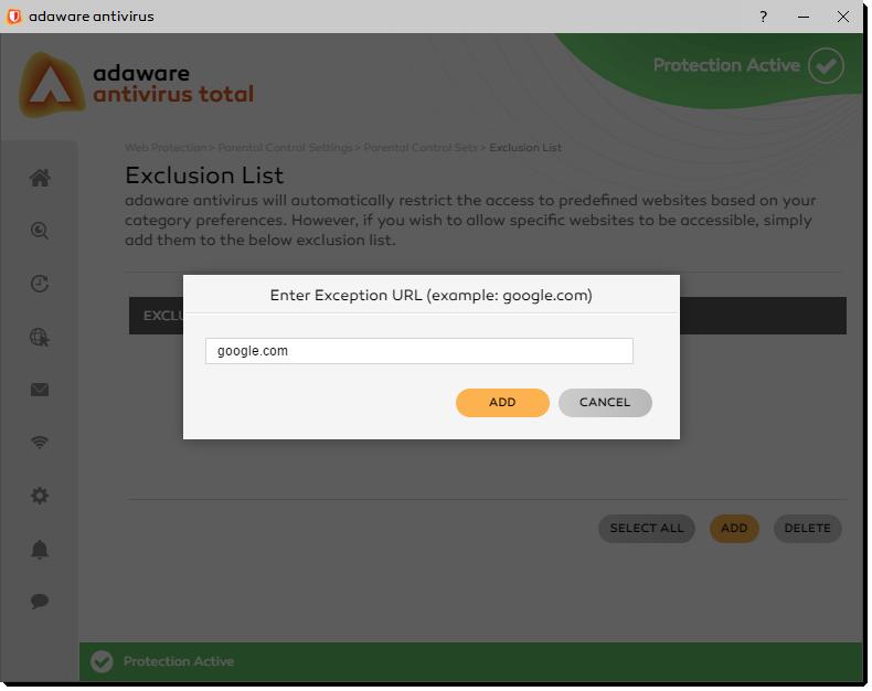 Enter Exception URL window