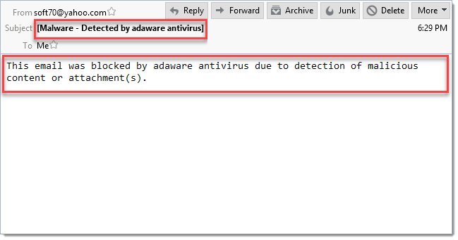 Malicious Email window