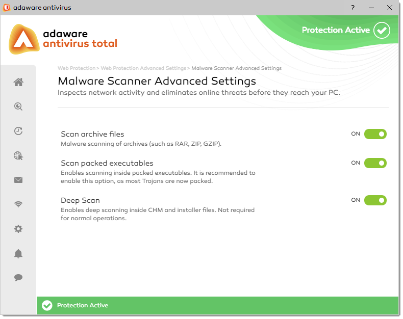 Malware Scanner Advanced Settings window