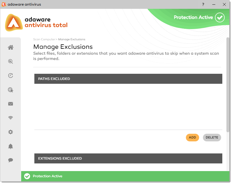 Manage Exclusions window