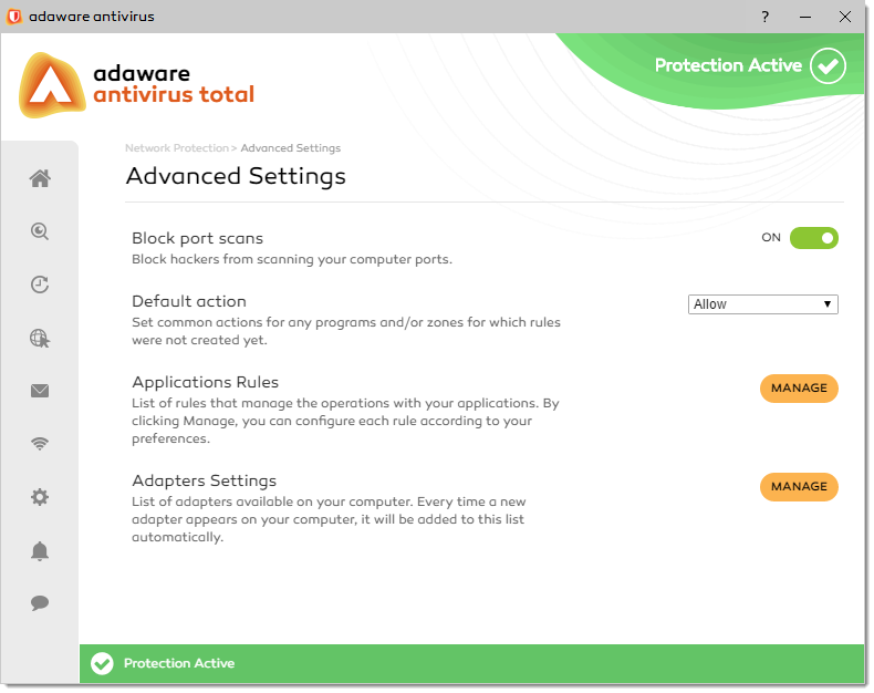 Network Protection - Advanced Settings window