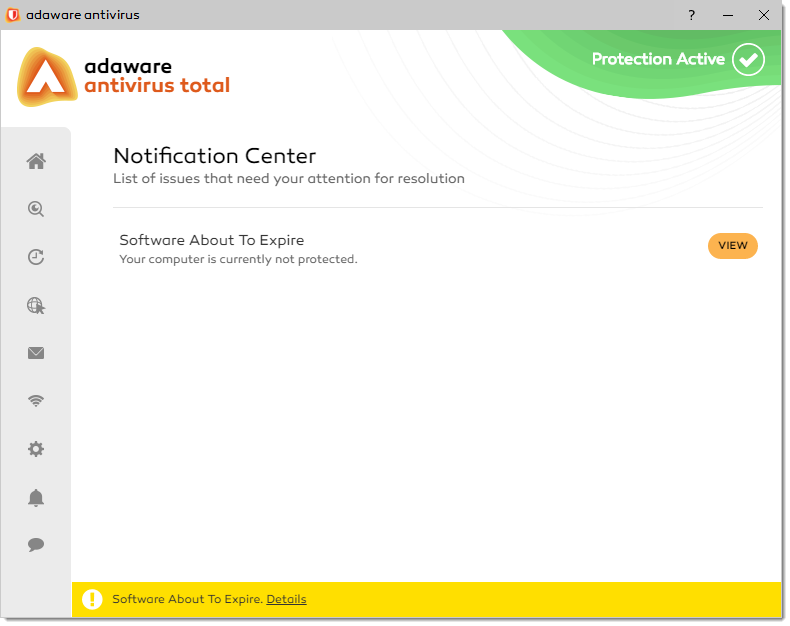 Notification Center Update Available window