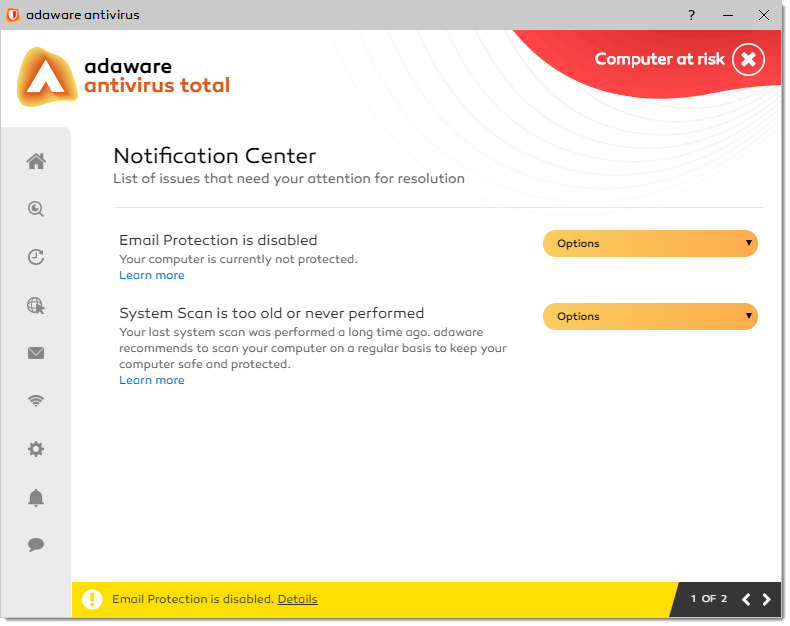 Notification Center window