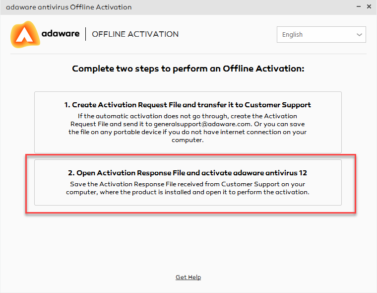 Open Activation File option