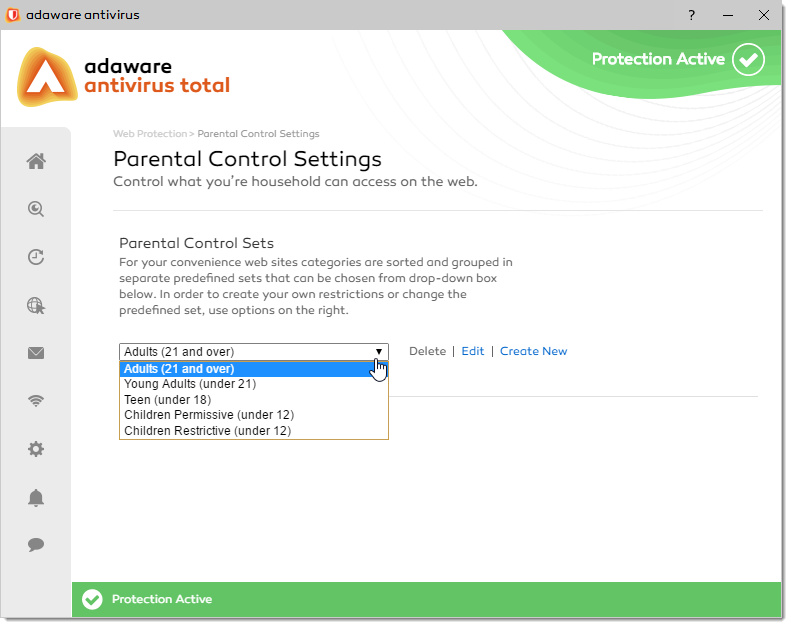 Parental Control Settings window