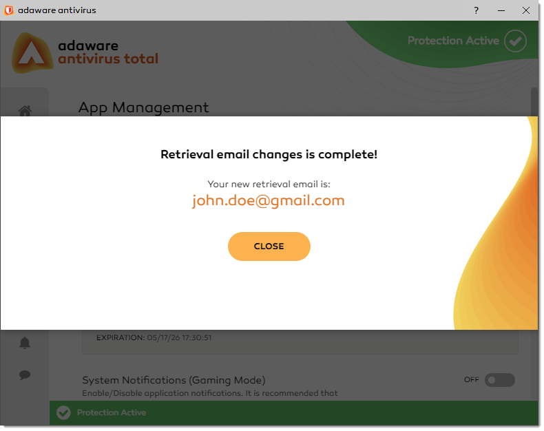 Retrieval Email Changes is Complete window
