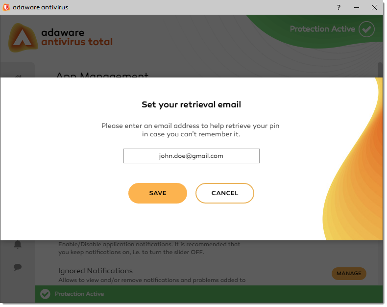 Set your Retrieval Email window