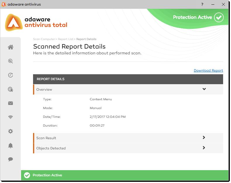 Scanned Report Details window