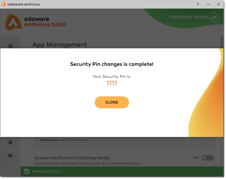 Security Pin Changes is Complete window