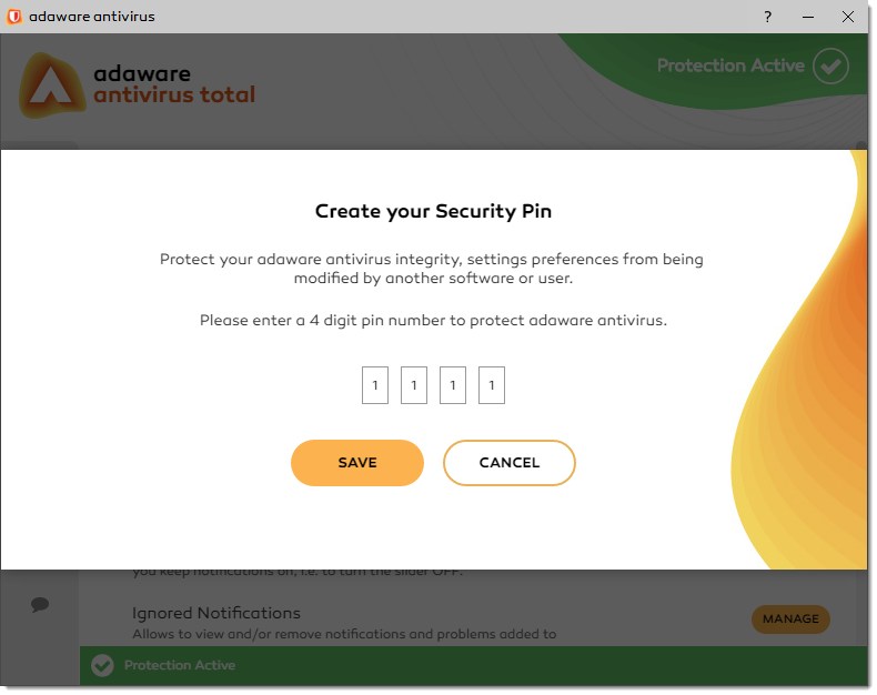 Create your Security Pin window
