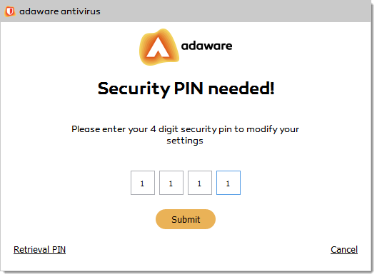 Security PIN Needed popup