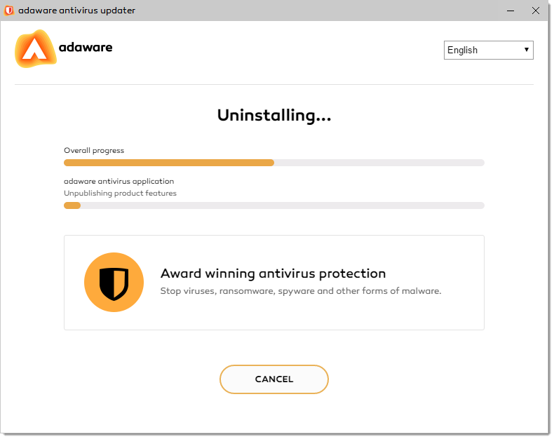 Uninstalling Process window