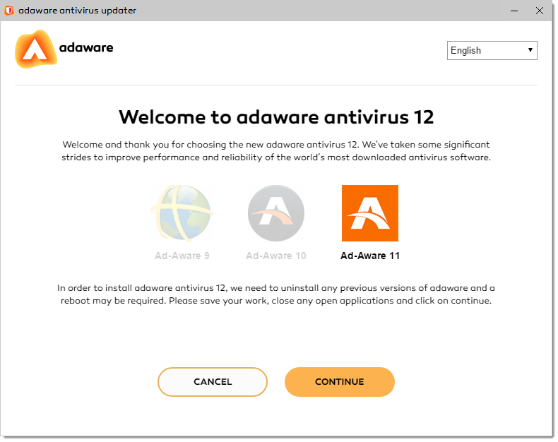 Welcome to adaware antivirus 12 window