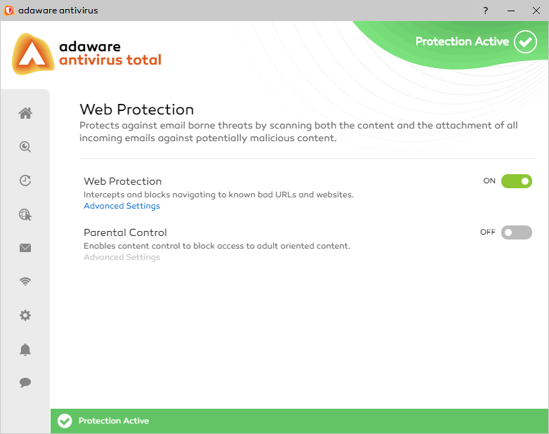 Web Protection window